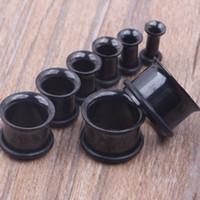 مزيج 100pcs / lot 3-14mm الفولاذ المقاوم للصدأ أسود واحد مضيئة الأذن نفق هيئة المجوهرات الأذن التوصيل اللحم نفق بيرس
