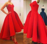 Классический простые красные пухлые шариковые платья Hi Lo Вечерние платья Милая на молнию Назад Дешевые выпускные арабские Дубай Формальные платья