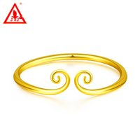 24K Gold Filled Bangles Luxury Fine Jewelry For Women Men Si...