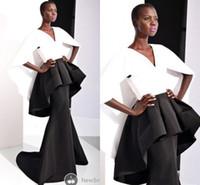 Modeste Noir et Blanc Formelle Femmes Robes De Soirée Sirène Satin Manches Courtes Peplum V Cou 2017 Miss USA Pageant Célébrité Robe De Bal Robes
