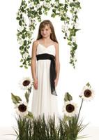 High Quality A Line Sweep Train Ivory Chiffon Black Sashes Low Price Junior Bridesmaid Dresses Free Shipping Flower Girls Dresses