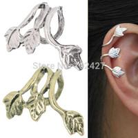 Neue Europa-Art-Art- und Weiseantikes Silber / Bronze überzogenes Blatt verlässt Ohr-Stulpe-Klipp-Ohrringe Schmucksache-Zusätze Heiß