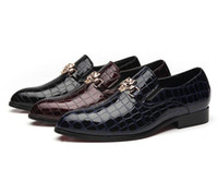 Luxury Italian Men Wedding Black Lace Up Oxford Leather Croc...