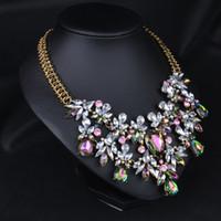 패션 트렌디 한 럭셔리 Chunky 다채로운 크리스탈 꽃 문 목걸이 목걸이 여성용 도매 고품질 5PCS 패션 쥬얼리