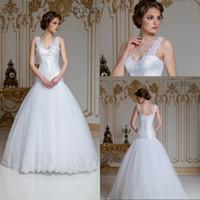 Beliebteste Eine Linie V-ausschnitt Bodenlangen Weiße Organza Spitze Brautkleider 2016 Spitze Niedrigen Preis Brautkleider Sleeveless robe de mariage