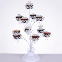 11 홀더 컵케익 스탠드 화이트 레이스 디저트 랙 생일 파티 장식 용품 금속 케이크 디스플레이 견고한 34dw BZ 지원