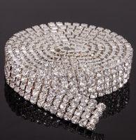 مايكروفون حار بيع 4 صفوف 1 ساحة diamante حجر الراين كعكة النطاقات تقليم كعكة الديكور لوازم الزفاف