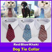 Nueva mascota perro rayas corbata cuello gato arco lindo perro corbata boda ajustable cachorro rojo / azul / caqui envío gratis