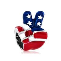 Rayas de estrellas Bandera patriótica de los EE. UU. Lenguaje de señas de mano Espaciador de cuentas europeo Pulseras de dijes de metal Compatible con Pandora Chamilia