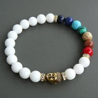 Bracelet perlé SN0252 Mala Buddha 7 Chakra Bracelet Fashion Cadeau Blanc Jade Jade Yoga Bracelet Perles Tibétatan