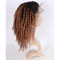 Yeni Gelen Kinky Kıvırcık İnsan Saç Peruk # 1B 27 Ombre renk Tam Dantel Peruk Ücretsiz Orta Kısmı Kinly Kıvırcık Dantel Peruk
