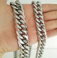 22 '' - 28 '' Länge 12mm breites amerikanisches Design Schmuck 316L Edelstahl doppelte kubanische Kettengliedkette für Herren Geschenke für Männer
