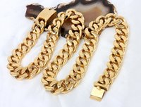 20mm Wide Mens Chain Boy HEAVY Biker Gold Tone Curb Link 316...