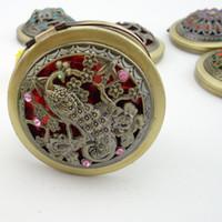 Borboleta retro do estilo do vintage do bolso / espelho cosmético compacto do bolso cosmético da composição da flor / pavão