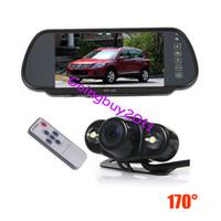"""2 LED Night Vision Voiture Parking Sauvegarde Retournement de la caméra 170 degrés + 7 """"TFT LCD Miroir Moniteur Voiture Vue arrière Kit imperméable"""