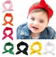 Bambini Bunny Ear Fascia per capelli Sciarpa Fascia per capelli Fascia in cotone Fiocco in nodo elastico Fascia per coniglio Accessori per capelli per bambini
