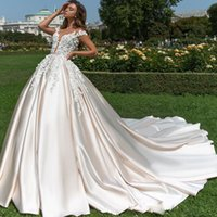 2018 Crystal Design Satin Wedding Dresses Romantic Pale Peach Floral Applique Long Gowns Custom Made Sheer Jewel Sexy Dress