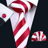 Snelle verzending Streep Tie Set Red Silk Hankerchief Manchetknopen Set Jacquard Geweven Klassieke Business Stropdas Klassieke Goedkope Hals Ties N-0242