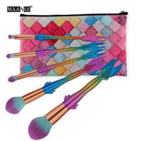 En gros 5pcs ensemble dames cosmétiques fondation blender visage maquillage rose or sirène maquillage brosse set DHL livraison gratuite