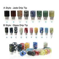Große Qualität 510 Drip Tip E Zigaretten Carving Art Glas Tropfspitze Jade Stein Tropfspitze mit Edelstahl Weithals Zerstäuber Mundstücke