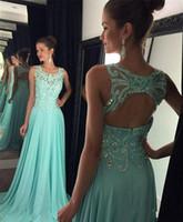 2016 Hot Nieuwe Prom Jurken Illusie Hals Kant Crystal Kralen Lange Party Avondjurken Open Back Blue Chiffon Plus Size 2016 Gelegenheid Jurk