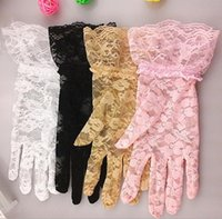 Fashion lace gloves sexy women lady wedding sheer Five Finge...