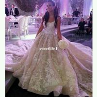Royal Princess 2019 Strapless vestido de baile vestidos de casamento apliques império cintura trem capela vestido de noiva lindo casamento vestidos personalizados