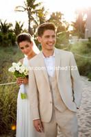 Пользовательские сделанные две кнопки бежевый жених смокинга Notch отворота мужские свадебные блазера деловые костюмы (куртка + брюки + жилет + галстук) G930