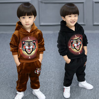2017 Tiger head embroidery suit Children Plus cashmere Long ...