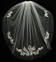 Accesorios de boda Velos de Novia Empresas dedos Cuentas de encaje Accesorios nupciales 2021 Velo nupcial corto Moda Blanco / Marfil Velo barato de novia