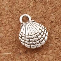 Shell Charm Beads 200pcs / lot vendita calda MIC 13.1x10mm Argento antico Ciondoli gioielli fai da te L1175