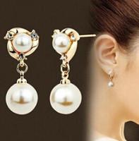 Vendita calda dei gioielli! Orecchino di perla bianco di modo piacevole di qualità 1pair per i nuovi orecchini della vite prigioniera 2015 della donna Prezzo all'ingrosso E014