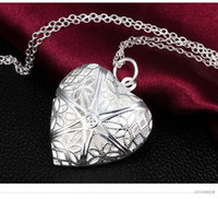 925 silver pendant heart necklace photo locket can open with...