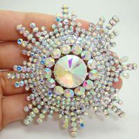 Hurtownie -Bride Moda Snowflake Flower Bride Druhna ślub Clear Rhinestone Kryształ Broszka Pin Bride Wedding Jewelry