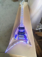 Nueva llegada TOp Quality Full Transparent Crystal Electric Guitar con Blue LED Color Acrylic Guitarra eléctrica