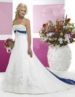 Weiße Stickerei Brautkleider Navy Blue Ribbon Gürtel Abendkleid Sleeveless A Line Ball Brautjungfer Kleid Plus Size Mutter Schwangere Kleider