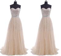Stock Long Prom Dresses 스팽글 A 라인 연인 얇은 명주 그물 레이스 라일락 블루 산호 파티 들러리 드레스 이브닝 가운
