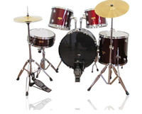 5pcs Drum Set Red Paint Adult Drum Set PVC Jazz Drum Set