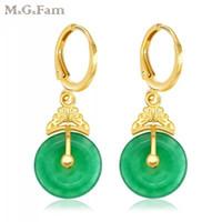 (421E) MGFam Clássico Beleza Verde Malaio Brincos De Jade Para As Mulheres Gota Redonda de Alta qualidade 24k Puro Banhado A Ouro