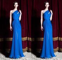 2016 Zuhair Murad Yeni Kraliyet Mavi Akşam Parti Elbiseler Bir Omuz Pleats Akşam Balo Abiye Custom Made Ücretsiz Kargo bo9790
