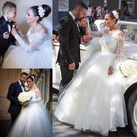 2016 кружева длинные иллюзионные рукава свадебные платья в линию тюль на плечах сексуальные спинки свадебные свадебные платья плюс размер ba0594