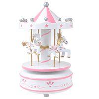 Merry-go-round carrousel wind-up muziekdoos kinderen Valentijnsdag cadeau verjaardagscadeau wit