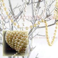 Nuevo 33 pies Marfil Perla Hebras Garland Carrete 8 mm Abalorios Centro de la boda Decoración centros de la boda dos colores beige y blanco