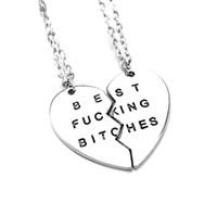 gratis frakt ny stil mode bruten hjärta 2 delar silver bästa tikar hänge halsband smycken för kvinnor