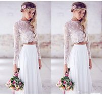 2015 Hot Sale Two- pieces Crop Top White Wedding Dresses Chif...