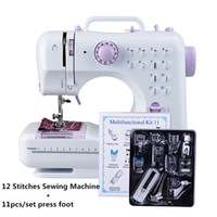 Mini macchina da cucire 505A 12 punti sostituibili + 11pc Piedini di alimentazione LED Light Corsi di cucito