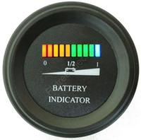Indicador de carga de la batería LED ronda batería del medidor indicador de nivel para el carro de golf, barco, carretilla elevadora, cortadora de 12V 24V 36V 48V 60V 72V 84V