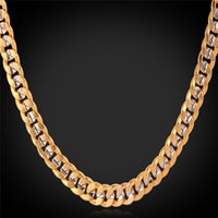Fancy Two Tone Gold Chain Necklace Platinum Plated 18K Gold ...