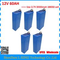 Batteria all'ingrosso 5pcs / lot 12V 60AH 12 V 60AH 60000 MAH Batteria agli ioni di litio 30A BMS per 12V 3S Batteria 5A caricatore UE Stati Uniti nessuna tassa