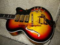 lNewest custom guitar Sunburst 3 Pickups Hollow Jazz Guitar Hardware oro Chitarre all'ingrosso HOT